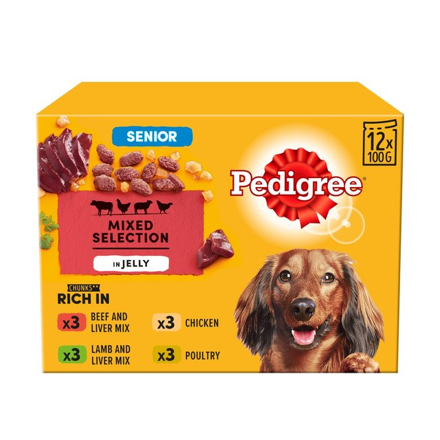 Pedigree Senior 7+ Wet Dog Food Pouches Mixed Selection in Jelly