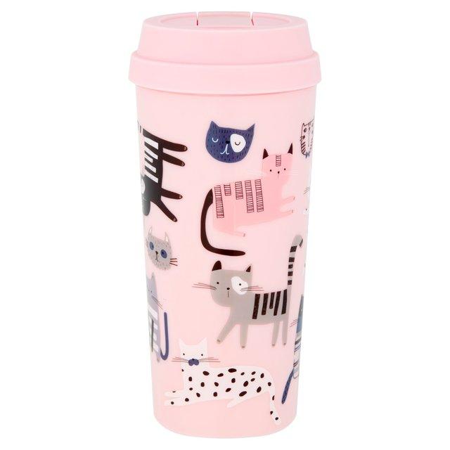 Morrisons Pink Cat Print Plastic Travel Mug 450Ml