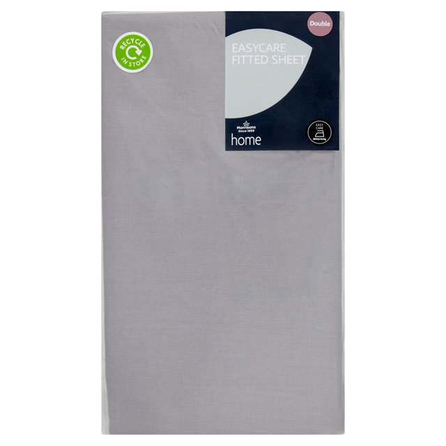 Morrisons Easy Care Grey Double Fitted Sheet