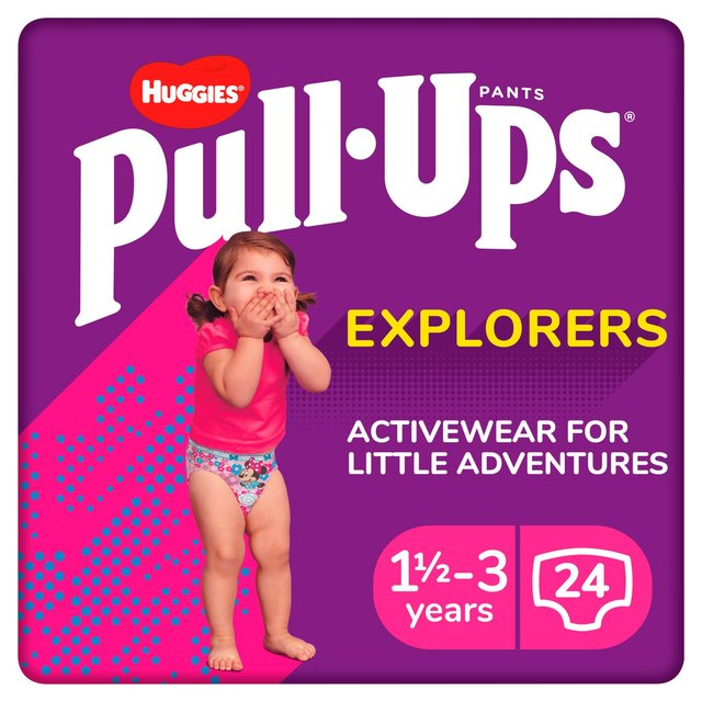 Huggies Pull Ups Explorers Girls 1.5 - 3 Yrs Nappies Size 4 & Size 5