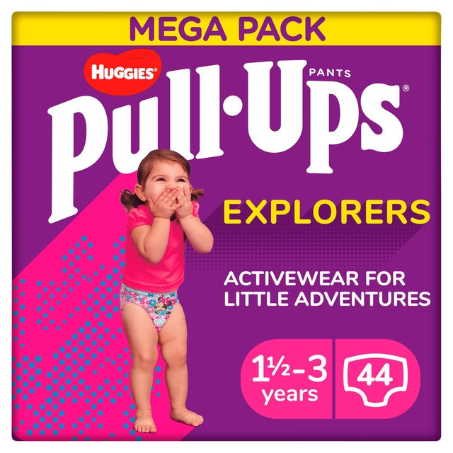 Huggies Pull Ups Explorers Girls 1.5-3 Years Nappies Size 4 & 5 Mega Pack