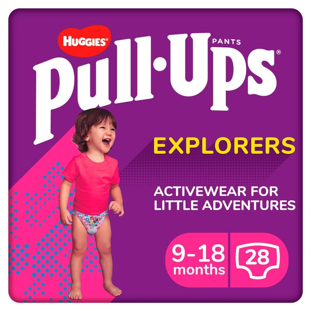 Huggies Pull Ups Explorers Girls 9 - 18 Months Nappies Size 3 & Size 4