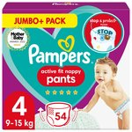 Pampers Active Fit Nappy Pants Size 4 Jumbo+ Pack 54 per pack