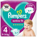 Pampers Active Fit Nappies Size 4, 9kg-14kg, Essential Pack 37 per pack