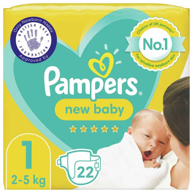 Pampers New Baby Nappies Size 1, 2kg-5kg, Carry Pack