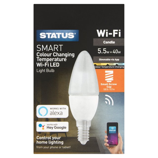 Status 5.5W Smart Wifi Led Candle Light Bulb Small Edison Screw