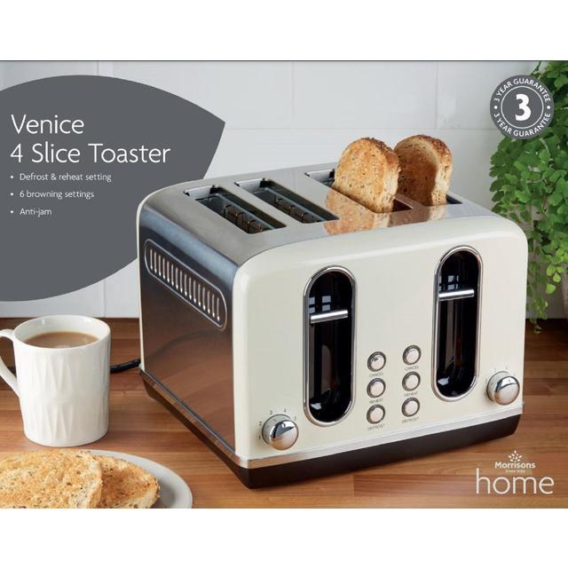 Morrisons Cream Venice 4 Slice Toaster