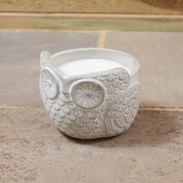 Morrisons Cement Owl Candle
