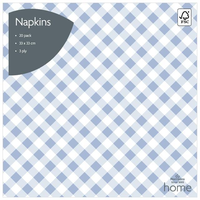 Morrisons Blue Gingham Napkins