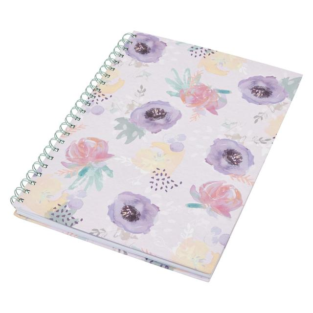 Morrisons Tranquil A4 Wiro Floral Notebook