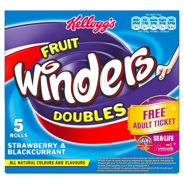 Kelloggs Fruit Winders Rolls Strawberry & Blackcurrent 5 Pack