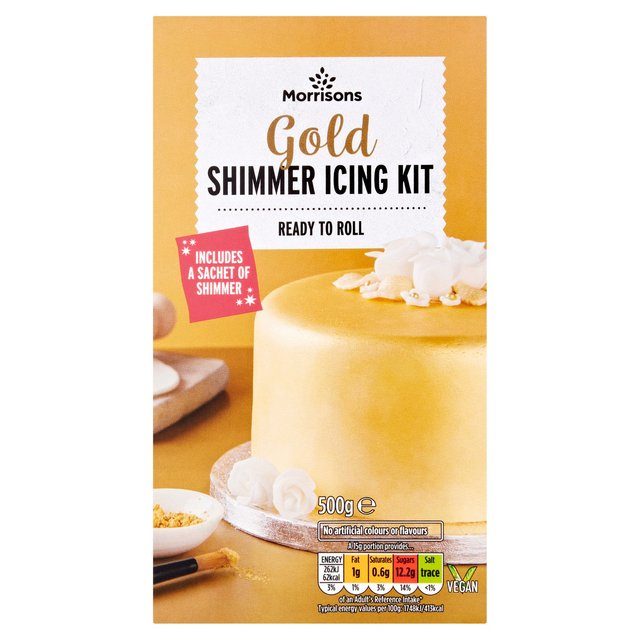 Morrisons Ready To Roll White Icing & Gold Shimmer