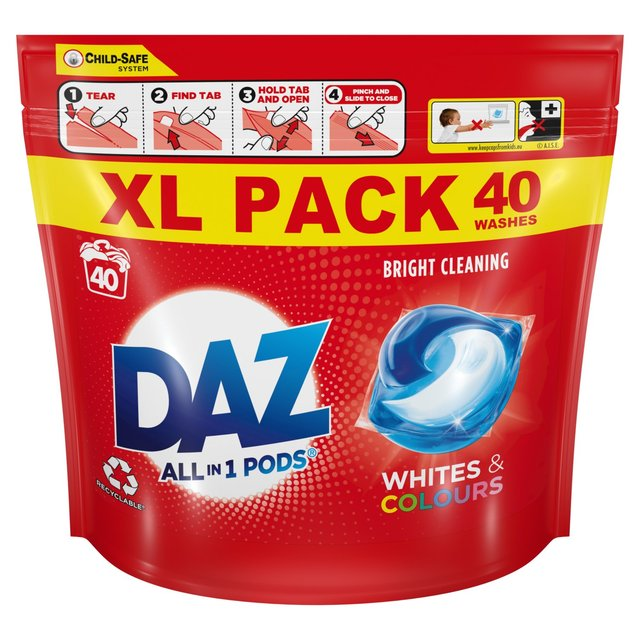 Daz All In 1 Pods For Whites And Colours Washing Liquid