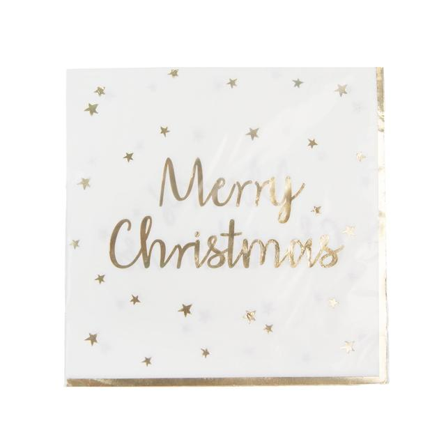 Morrisons Gold Star Merry Christmas Napkins