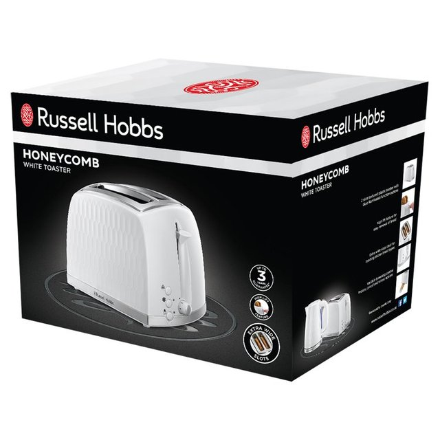 Russell Hobbs Honeycomb 2 Slice Toaster White 26060