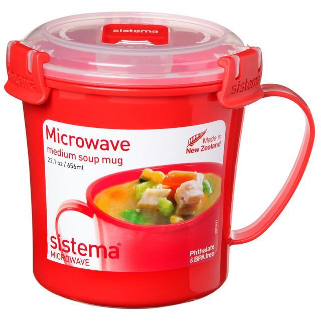 Morrisons Sistema Plastic Microwave Soup Mug 656ml Red